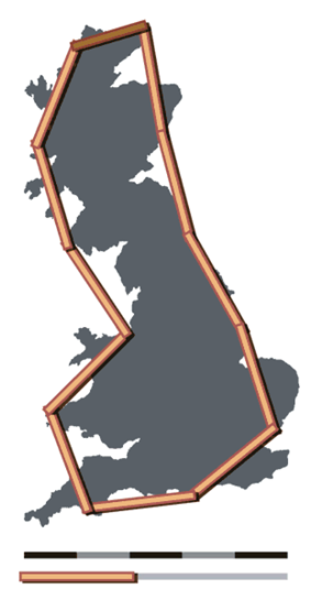 Coastline of Britain measured using a 200 km scale
