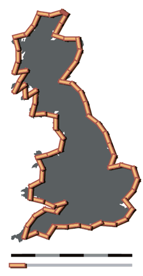 Coastline of Britain measured using a 50 km scale