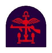 Insignia of Combined Operations units it is a combination of a red Thompson submachine gun, a pair of wings, an anchor and mortar rounds on a black backing