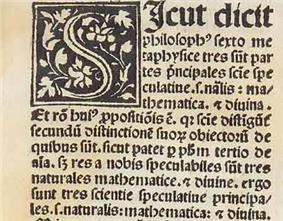 Top left corner of early printed text, with an illuminated S, beginning