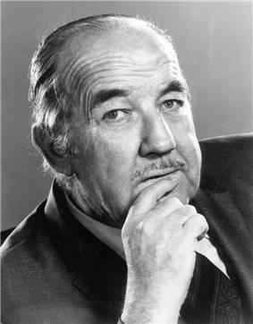 Black and white publicity photo of Broderick Crawford in 1970.