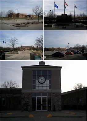 From top left clockwise: Brookfield Central High School, Veterans Memorial Fountain, Brookfield Square Mall, Brookfield City Hall, and the Brookfield Safety Building
