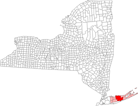 Location of Brookhaven in Suffolk County, New York