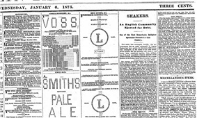 A portion of the Brooklyn Daily Eagle, January 6, 1875 showing advertisements made from