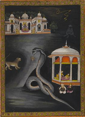 Painting of Krishna being carried across the river.