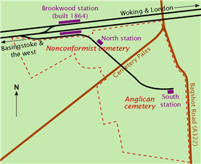 Irregularly shaped plot of land, with a railway line and station as the top boundary. A road marked