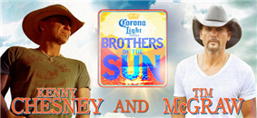 Two men stand on either side of the image, both in cowboy hats and necklaces. Kenny Chesney, the man on the left, has on a brown cowboy hat and a gold necklace. He is also wearing a faded green shirt with an indistinguishable logo on it. Tim Mcgraw, the man on the right, has on a white cowboy hat with a white shirt. He is also wearing a silver necklace tucked underneath this shirt. Behind them is the sky. Dividing them is the tour logo.