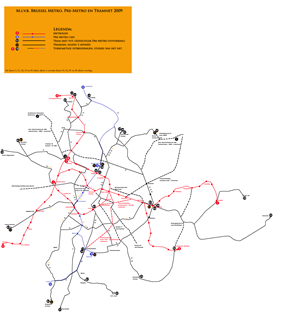Metro, Premetro and tramway map of Brussels