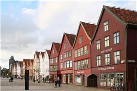 Bryggen in Bergen Built after 1702