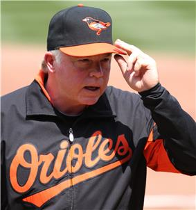 A man wearing a black baseball cap with an orange bill and a bird on the front and a black warm-up jacket with