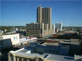 View of Bulawayo's Central Business District (CBD) from Pioneer House by Prince Phumulani Nyoni. The CBD is 5.4 square kilometres and is in a grid pattern with 17 avenues and 11 streets