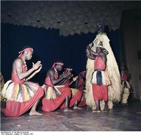 Dancers of Les Ballets Africains in Bonn, Germany, 1962