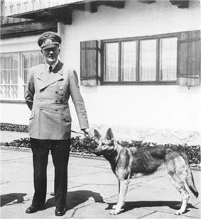 A full length portrait of man in military uniform holding a dog on a leash