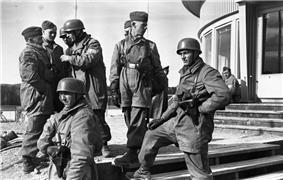 German soldiers on steps
