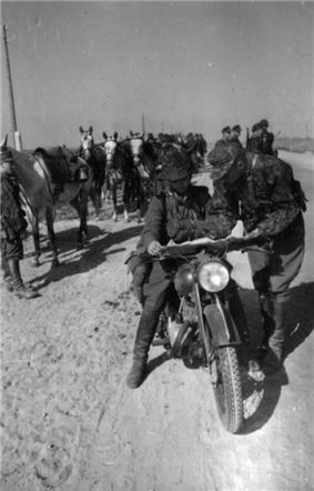 a black and white photograph of a German military motorcycle crew with several horses in the background