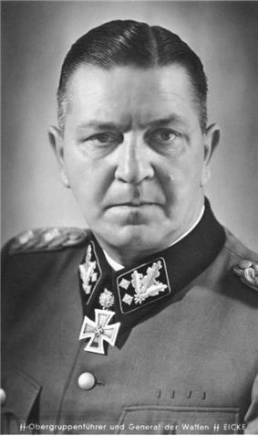 a black and white photograph of Theodor Eicke in SS dress uniform