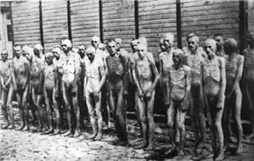 A group of some 25 naked, severely malnutritioned Soviet prisoners of war standing in three rows against a wooden wall.