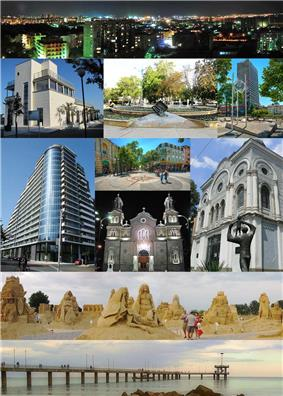 Top: View of Slaveikov district in Night, 2nd left: Marine Casino Center in Burgas Sea Garden, 2nd middle: A fountain in Tsaritsa Ioanna Square, 2nd right: View of Clock in Transportana shopping area, 3rd left: Panteona Complex Building, 3rd upper middle: Bogorids Street, 3rd lower middle: St. Cyril and Methodius Cathedral, 3rd right: Burgas Art Gallery, 4th: View of Burgas Sand Sculptures event in Sea Garden, Bottom: The Pier at the Burgas Central Beach