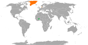 Map indicating locations of Burkina Faso and Denmark