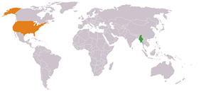 Map indicating locations of Burma and United States