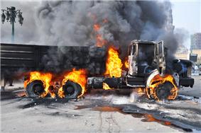 A truck ablaze