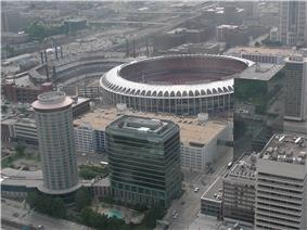 New and old Busch Stadiums, at the location of the old Chinatown