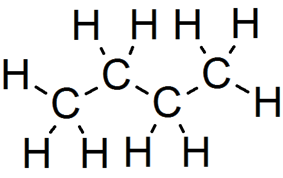 Skeletal formula of butane with all carbon and hydrogen atoms shown
