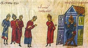 Medieval miniature showing five men in long tunics coming before a man seated on a throne to the right