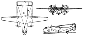 Orthographically projected diagram of the C-2A Greyhound