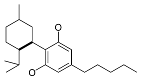 Chemical structure of the CBD-type cyclization of cannabinoids.