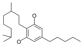 Chemical structure of the CBG-type cyclization of cannabinoids.