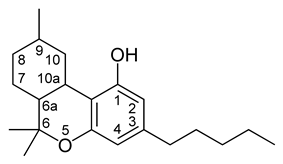 Chemical structure of a CBN-type cannabinoid.