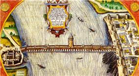 Fanciful depiction from 1608. View from north