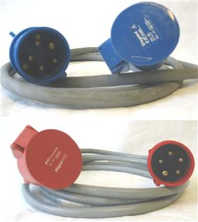 Two power cables, each with a 3P+N+E plug at one end, and a matching socket at the other end. The upper cable has blue connectors; the lower cable has red connectors.