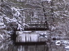 Snow covers a simple wooden footbridge which crosses a stream in a forest