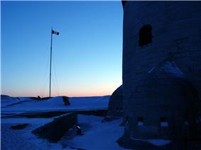 Exterior view of the martello tower on Point Frederick in winter