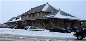 Exterior view of the Saskatoon railway station in winter