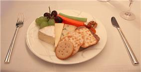Cathay Pacific First Class fruit and cheese platter