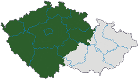 Map indicating the extent of Bohemia within the Czech Republic