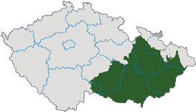 Moravia (green and dark gray) in relation to the current regions of the Czech Republic
