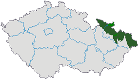 Map indicating the extent of Czech Silesia within the Czech Republic