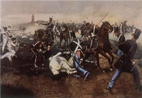 Portrait of the battle of San Lorenzo, featuring Juan Bautista Cabral when he saved San Martín's life