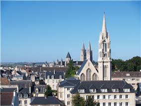 View of downtown Caen and the Abbey of St. Étienne