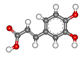 3D ball-and-stick model of caffeic acid