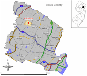 Map of Caldwell in Essex County. Inset: Location of Essex County highlighted in the State of New Jersey.