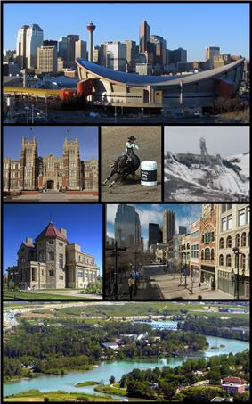 From top left: Scotiabank Saddledome and Downtown Calgary, SAIT Polytechnic, Calgary Stampede, Canada Olympic Park, Lougheed House, Stephen Avenue, Calgary Zoo