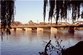 The Grand River Bridge, which carries Argyle St. over the Grand River in Caledonia.