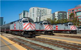 Three EMD F40PH-2CATs at San Francisco.