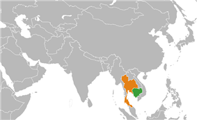 Map indicating locations of Cambodia and Thailand