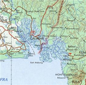The Nigeria-Cameroon border region on the coast from a 1963 map, with Biafrai peninsula in the middle